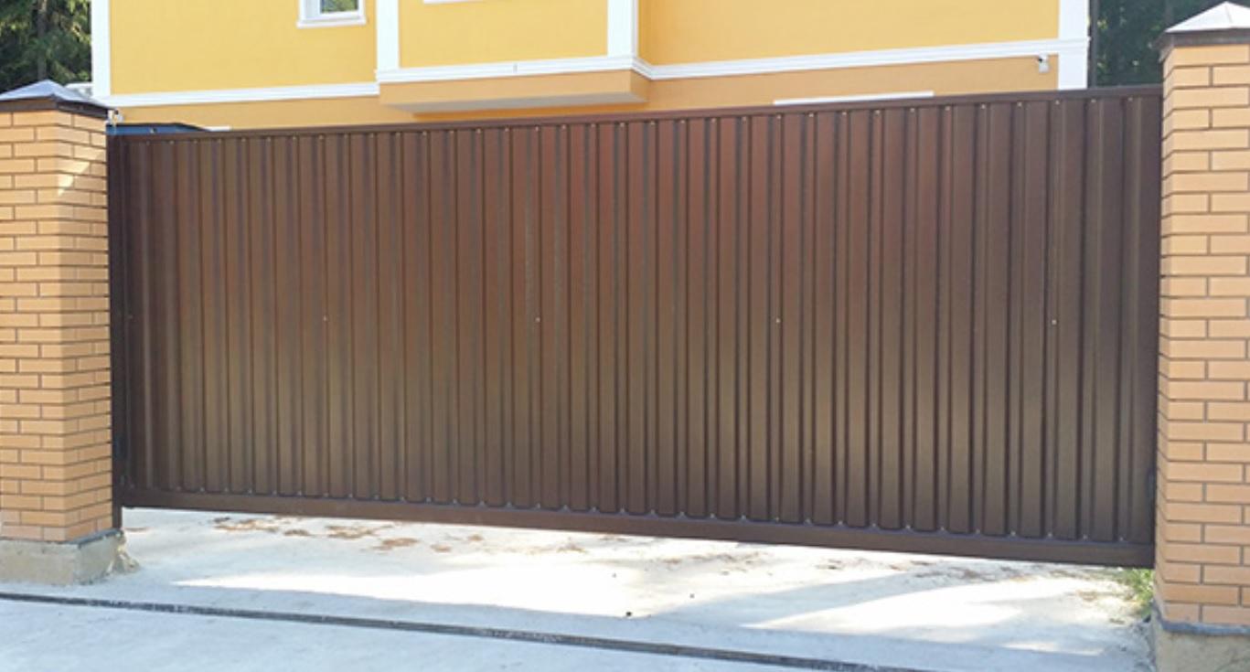 Откатные ворота из профнастила с установкой